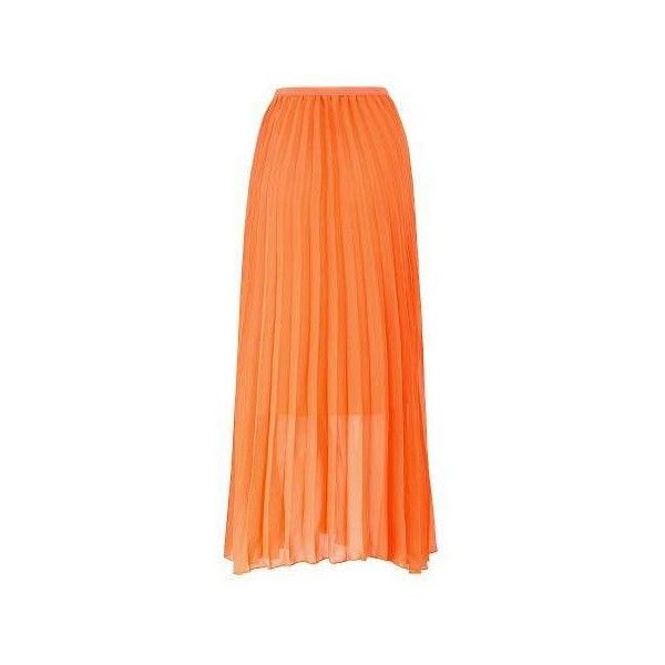 4884ada92c4e8 Yoins Orange Chiffon Pleated Maxi Skirt (81 PEN) ❤ liked on Polyvore  featuring skirts, red pleated skirt, long red skirt, red maxi skirt, pleated  chiffon ...