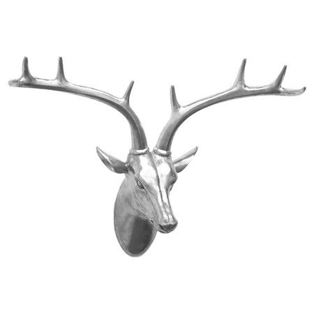 Pairing lodge-chic style with a pop of contemporary appeal, this shimmering wall decor features a deer head silhouette and silver finish.  ...