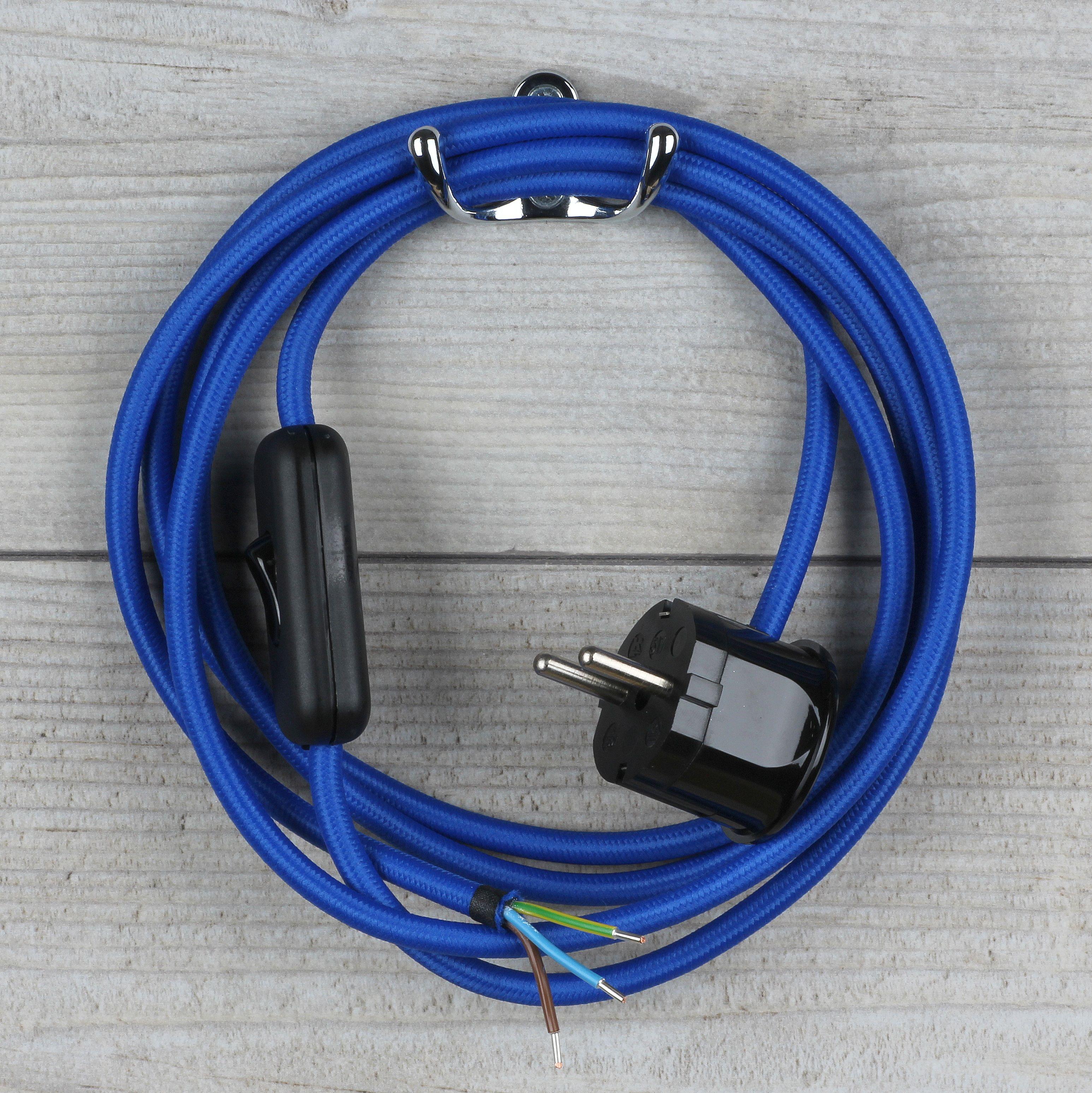 Textilkabel Dunkel Blau Mit Schalter U Schutzkontakt Stecker 22 37 A Textilkabel Kabel Stecker
