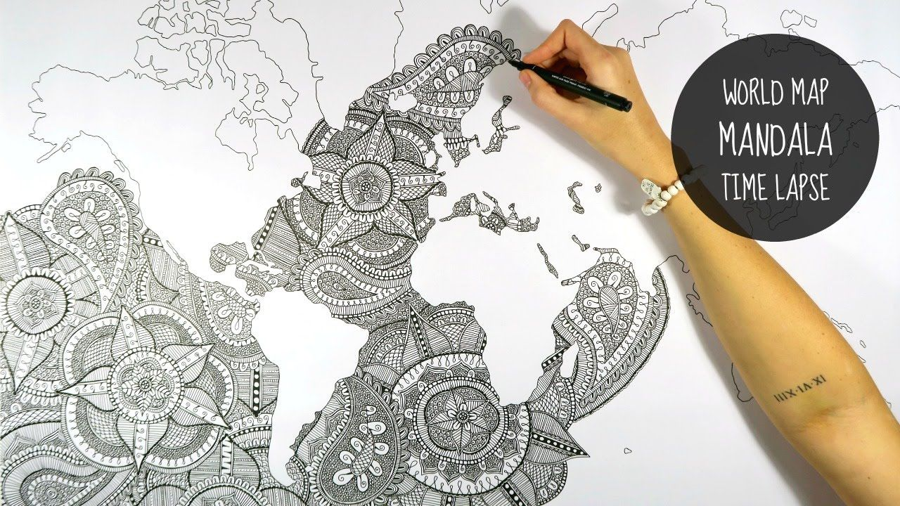 World map mandala speed drawing art wallpaintingwallpaper world map mandala speed drawing gumiabroncs Images