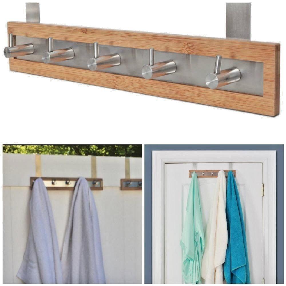 Bamboo Stainless Steel Towel Bar Door 5 Hooks Bath Accessories ...