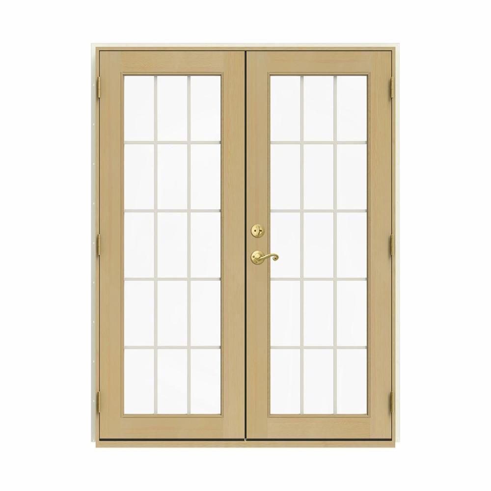 Jeld Wen 60 In X 80 In W 2500 Vanilla Clad Wood Left Hand 15 Lite French Patio Door W Unfinished Interior White French Doors Patio Patio Doors Aluminium Cladding