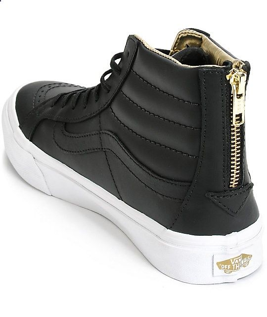 32b7080d6a Vans Sk8-Hi Slim Black Gold Leather Shoes (Womens)