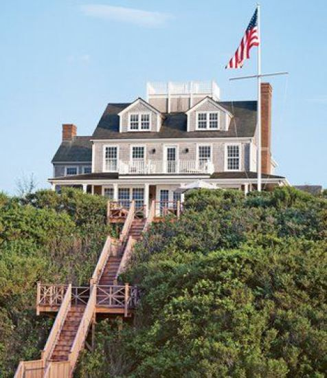 Nantucket Beach House With Steps And Flag