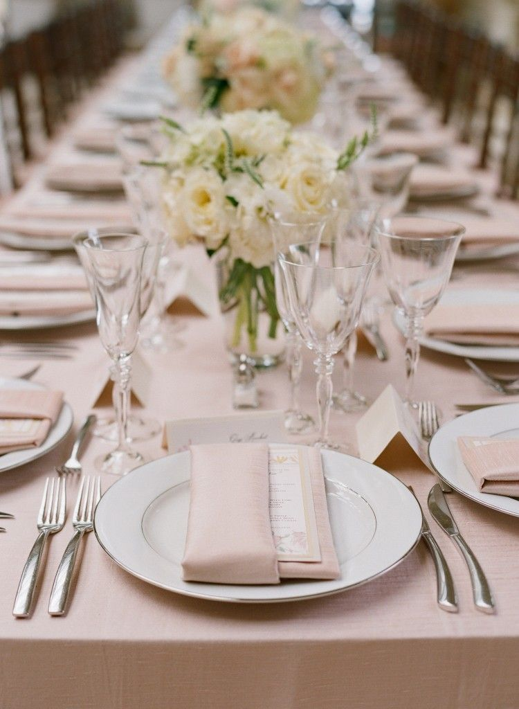 Blush And Ivory Seaside Bridal Shower Inspired By This Wedding Table Wedding Table Linens Wedding Napkin Folding