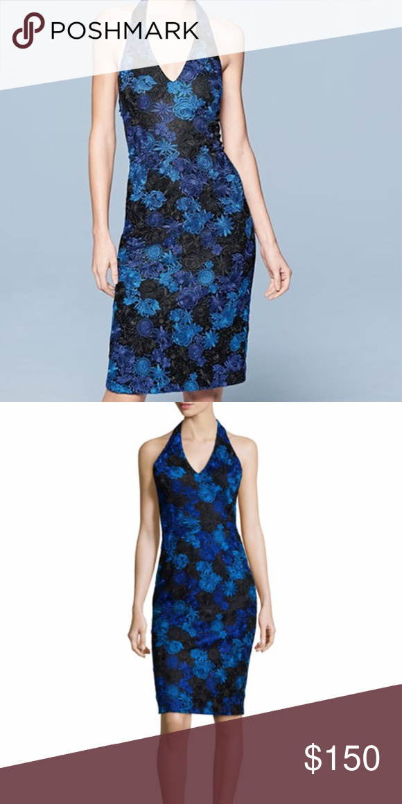 New Snug Fit David Meister Blue Lace Halter Dress I Am Returning It At End Of Month If Ody Wants To S Nwt Dresses