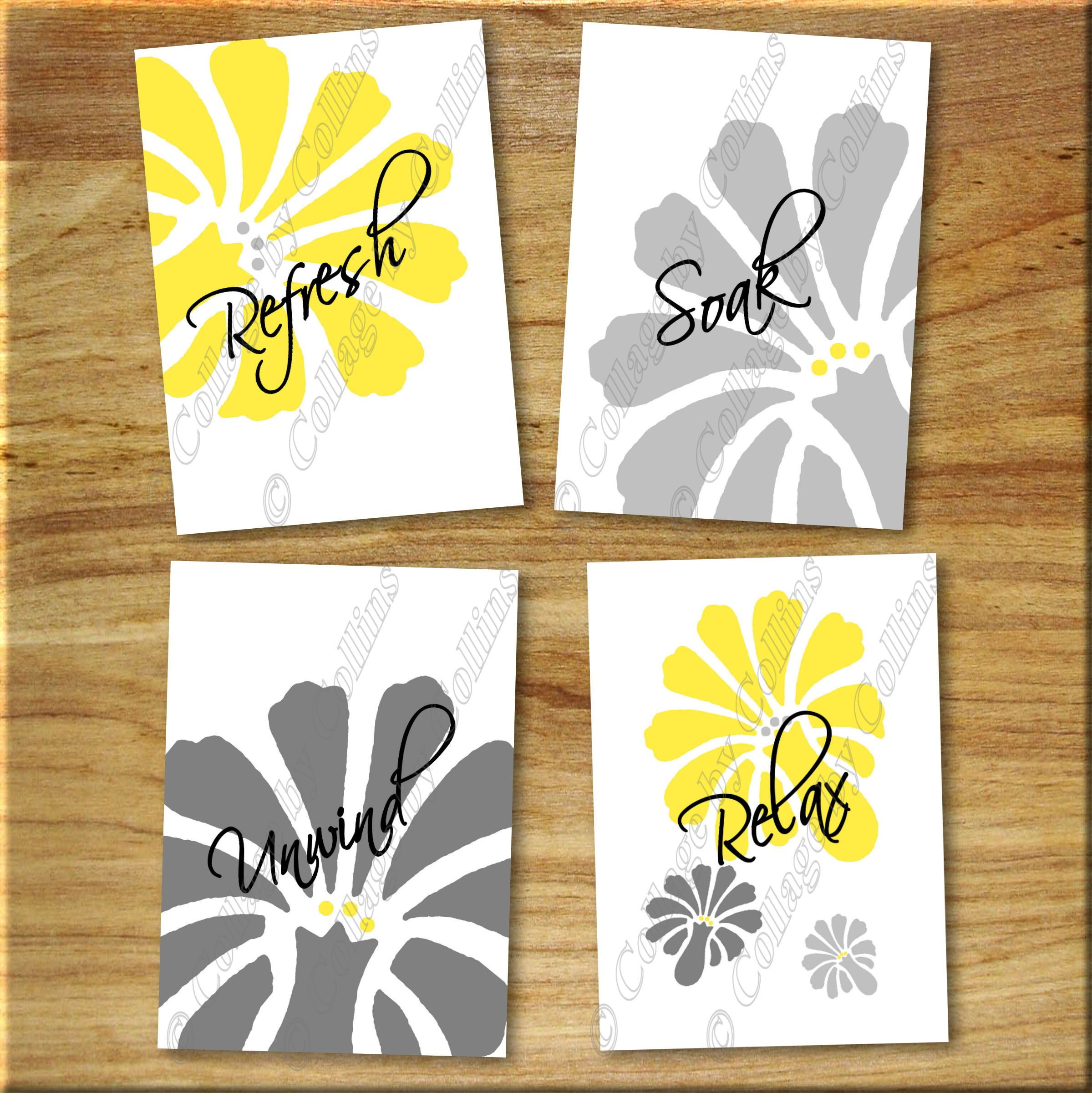 Yellow Gray Daisy Floral Flower Bathroom Wall Art Prints Refresh