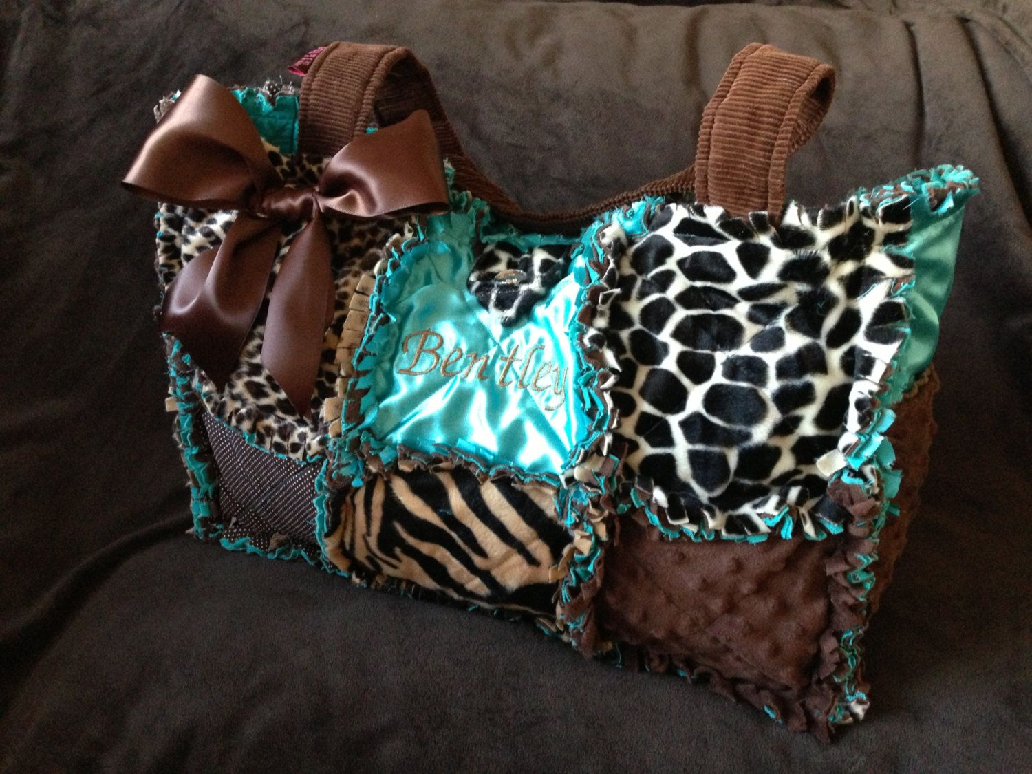 Custom Rag Quilted Diaper bag for Girl or Boy Teal, Leopard ... : quilted camo diaper bag - Adamdwight.com
