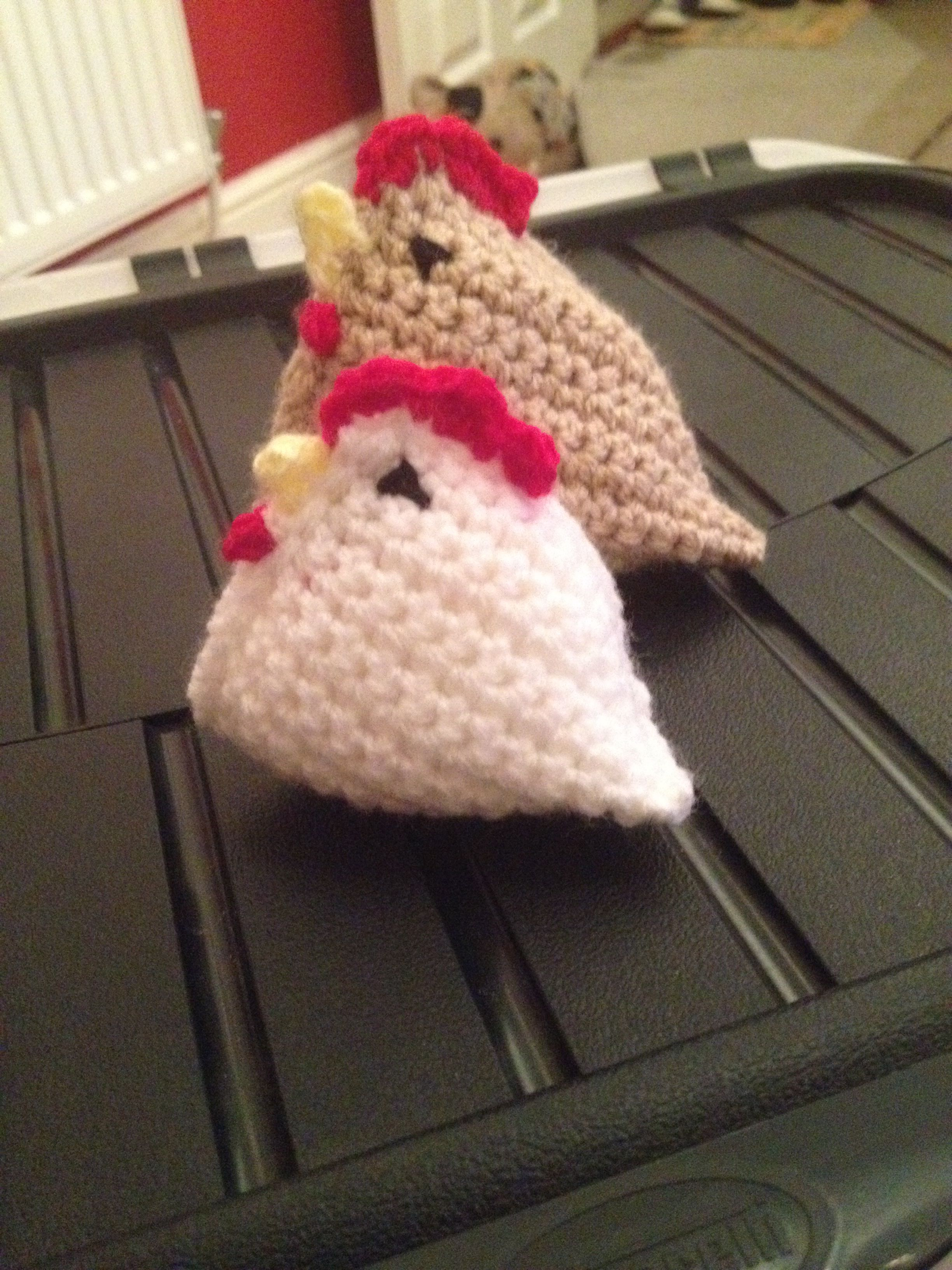 Set of crocheted chicks Make a good ornament on a kitchen mantel