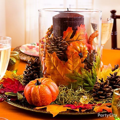Thanksgiving Decoration Ideas create a beautiful, original centerpiece using just a few simple
