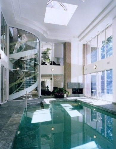 Kevin akey contemporary pool with  glass cylinder stair well indoor swimming pools also wish rh za pinterest