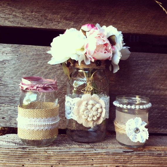 Vintage Wedding Ideas Mason Jars: Burlap And Lace Mason Jar Vases Vintage By