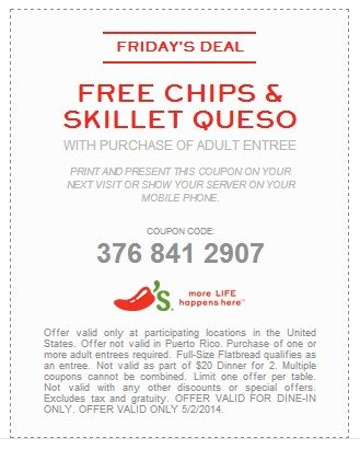 free chips skillet queso expires 522014 chilis coupons http