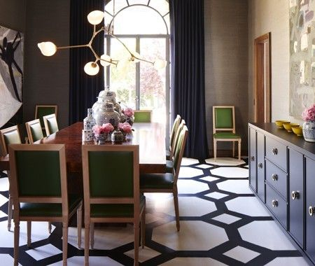 Beautiful use of black and white - dining room Home decor