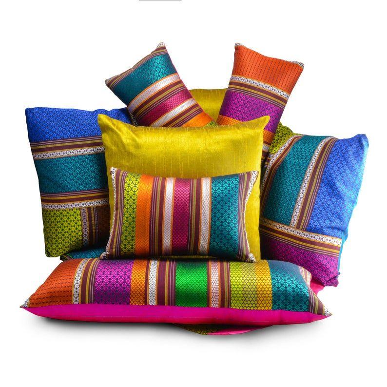 Handwoven pillow, multicolor Indian pillow, Khunn fabric pillow, Luxurious patchwork Pillow, Jewel tones, Teal Pink blue throw pillow