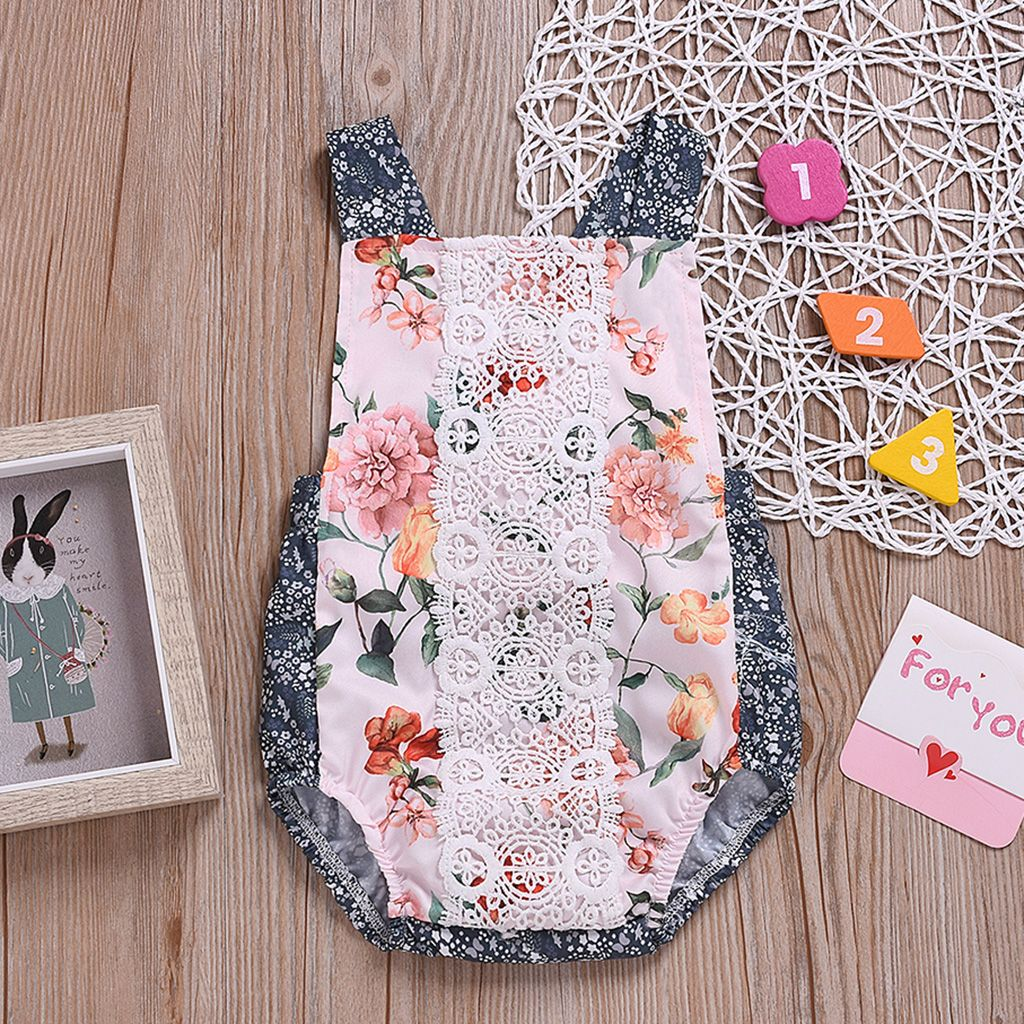 Floral Lace Trim Front Halter Romper Matching Family Outfits Floral Lace Baby Outfits Newborn