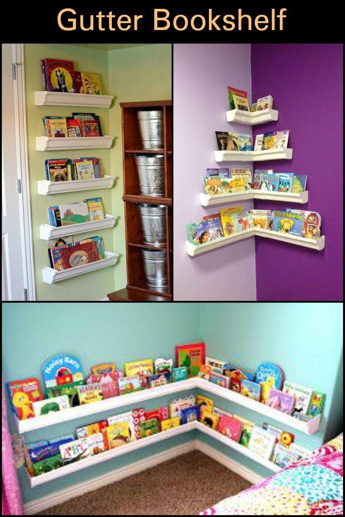 Diy Gutter Bookshelf Wall Bookshelves Kids Kids Room