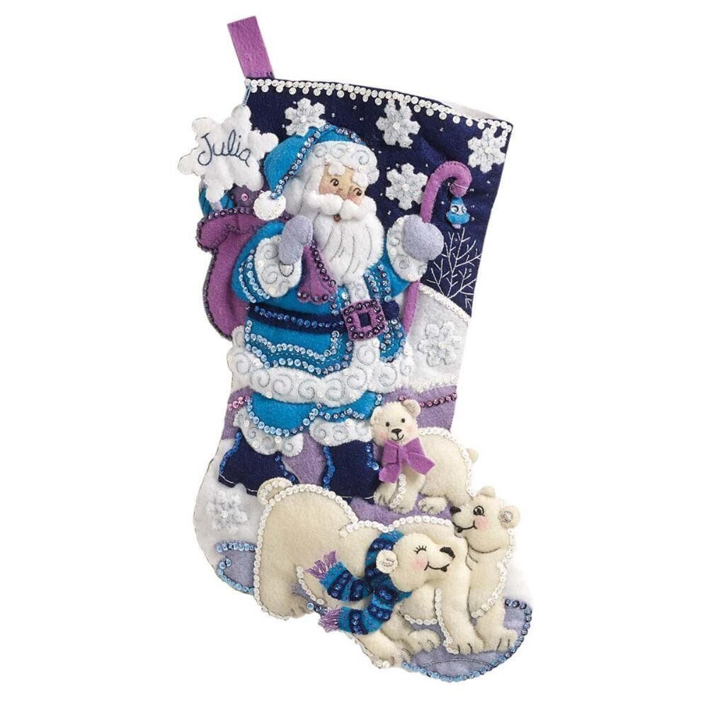 Bucilla 86653 Arctic Santa Felt Applique Stocking Kit, 18\