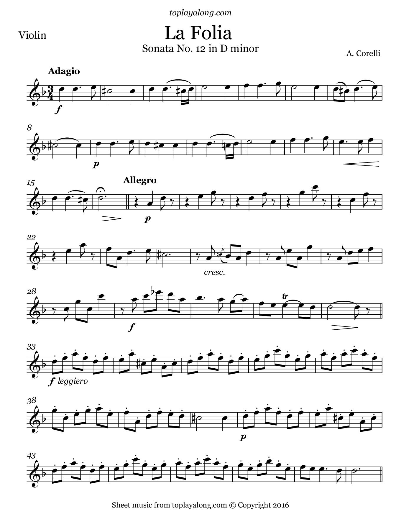 La Folia by Corelli  Free sheet music for violin  Visit toplayalong