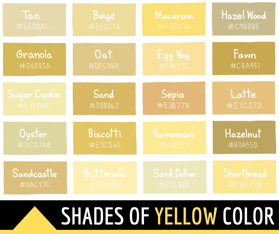 45 Shades Of Yellow Color With Names And Html Hex Rgb Codes In 2020 Shades Of Yellow Color Green Color Names Color Palette Yellow