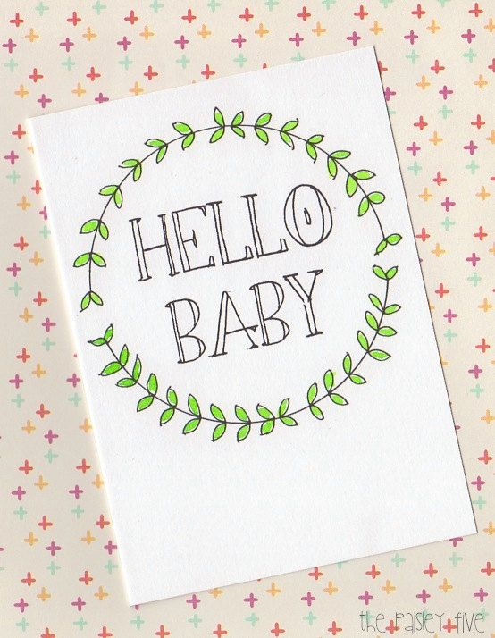 HELLO BABY  greeting card  nursery decor  new baby welcome boy