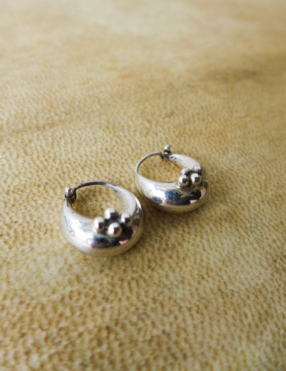 Chubby Silver Hoop Earrings Fat Hoops Small Flower Dots Indian Style Boho Sterling Chunky Gift