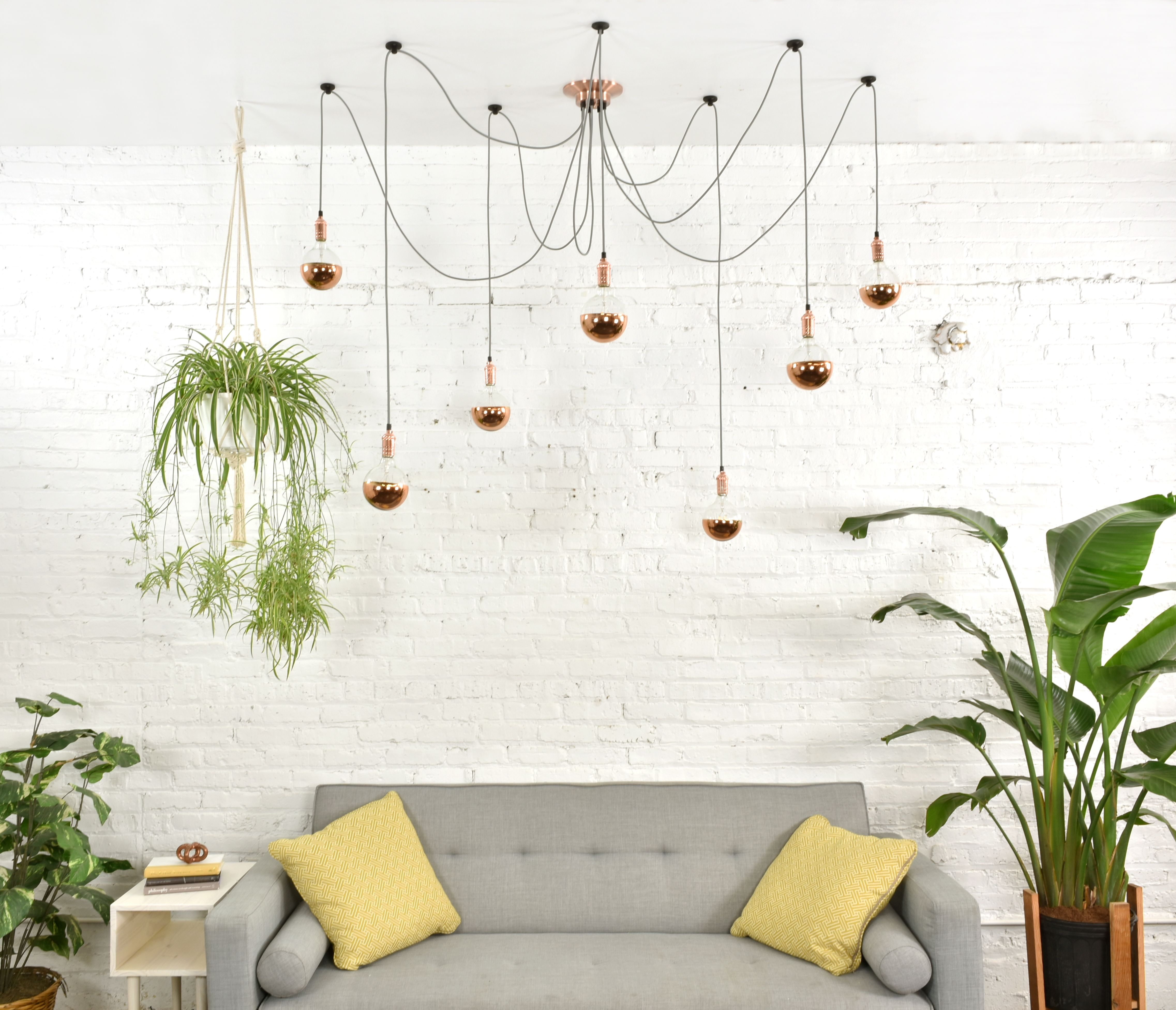 Copper and Grey Swag Chandelier Swag Lighting