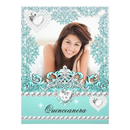 quinceanera 15th birthday teal blue silver white announcement, Birthday invitations