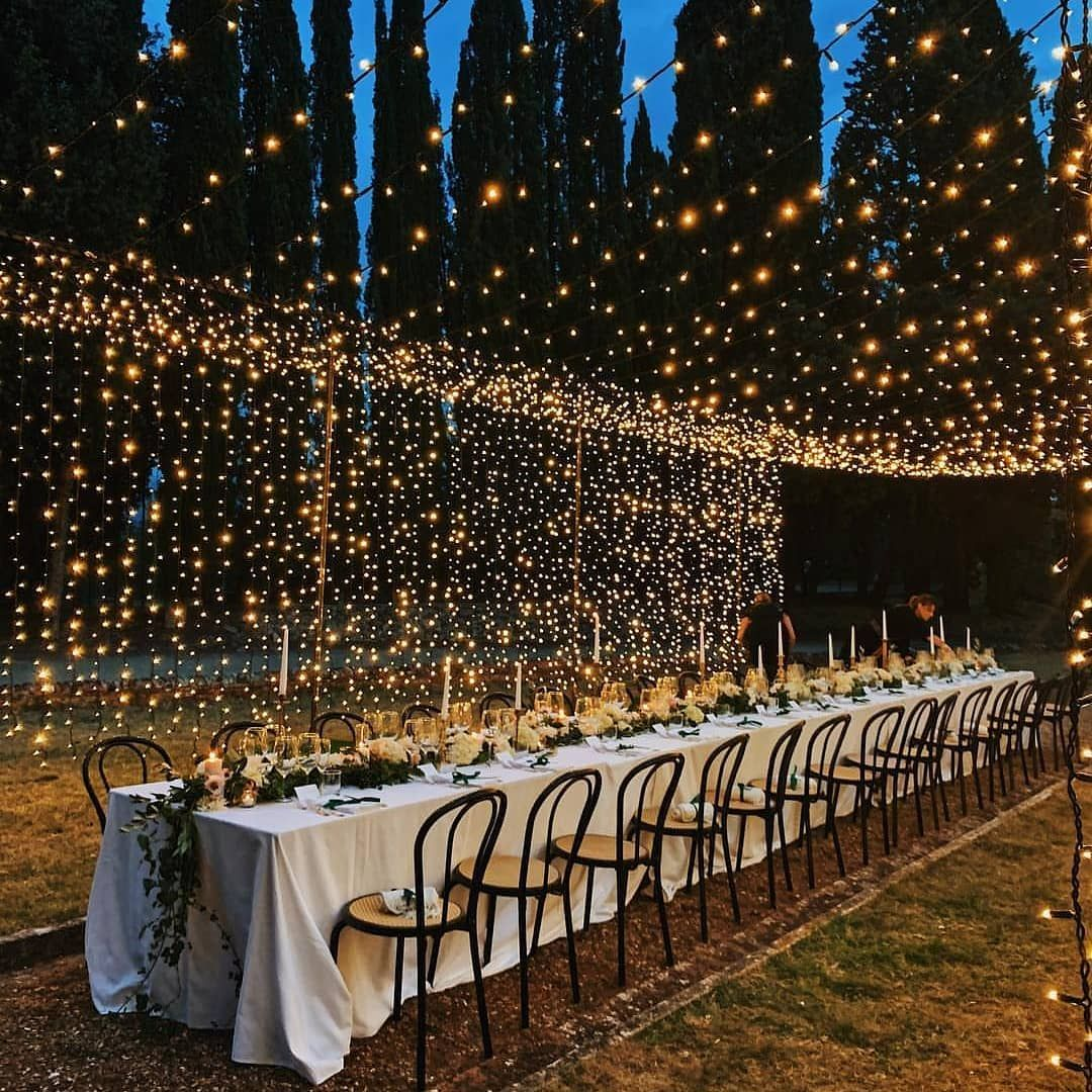 Enchanted Blossoms On Instagram Wow Look At Those Lights Gorgeous Wedding Decoration Night Wedding Photos Outdoor Wedding Outdoor Wedding Decorations
