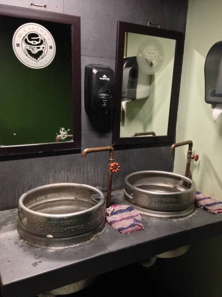This Irish Pub S Bathroom Sinks Are Made From Beer Kegs