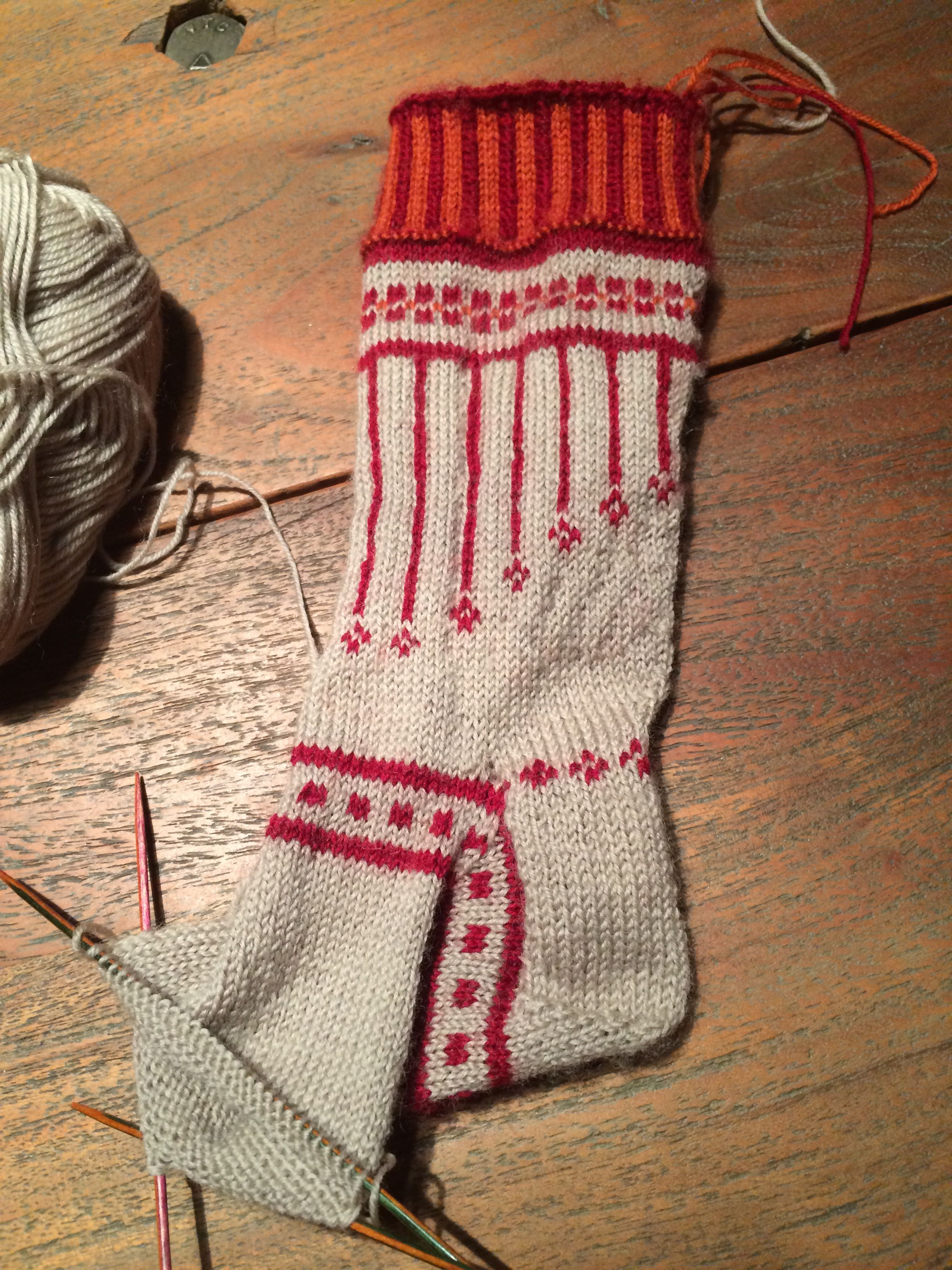 Have to undo my experimental sock, forgot to allow extra size to allow for the fair isle not being stretchy enough. Way too small- back to the drawing board.