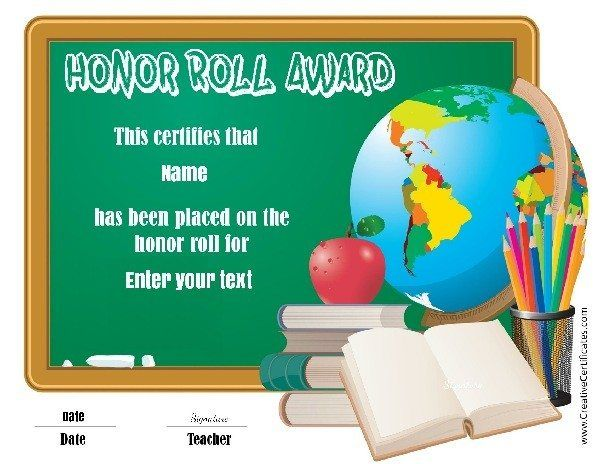 School certificates school pinterest honor roll certificate free printable honor roll certificates that can be customized before you print choose an honor roll certificate template and customize yelopaper Gallery