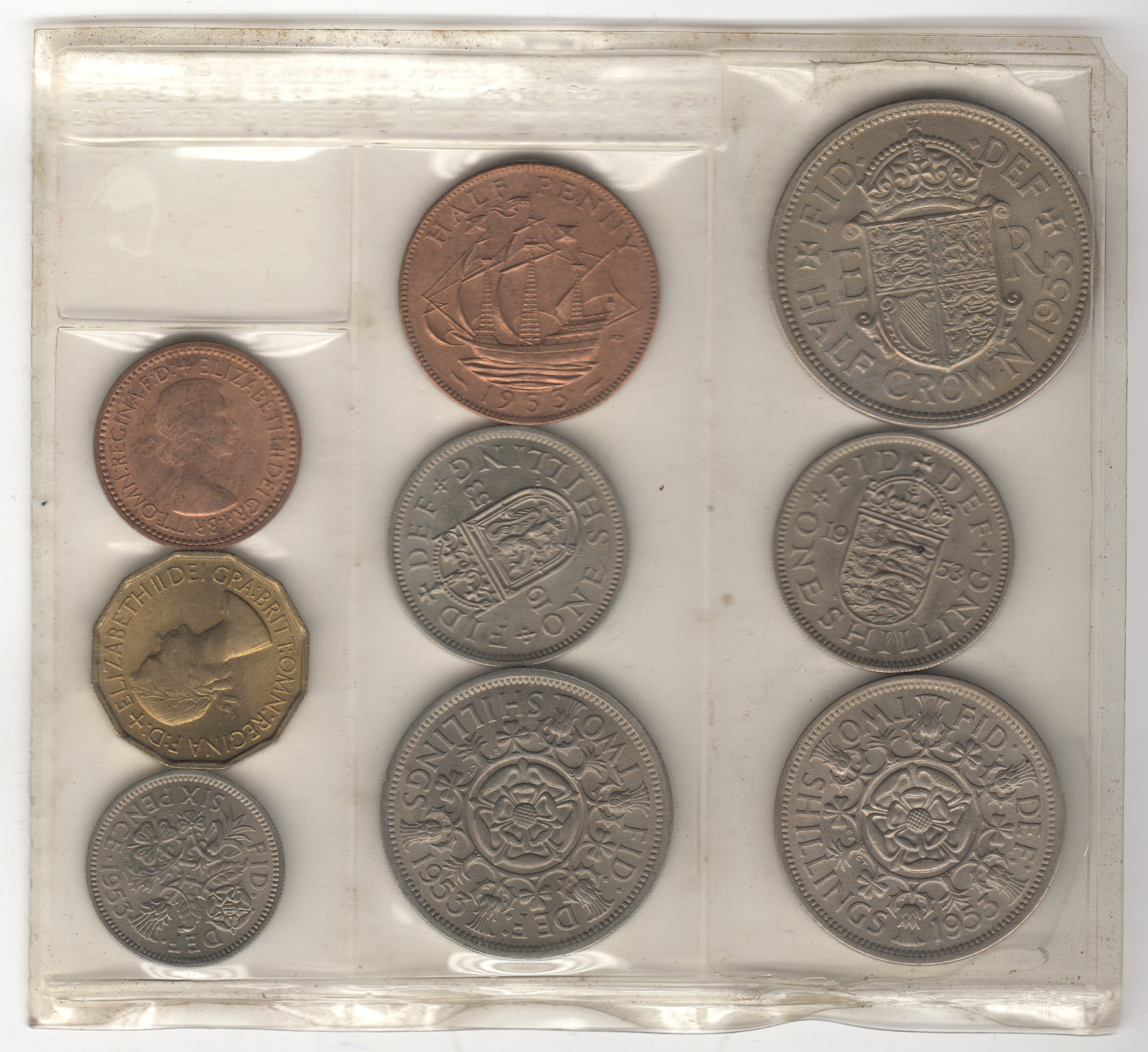 1953 Uk Coin Collection Damaged Pack Pennies2pounds Monete