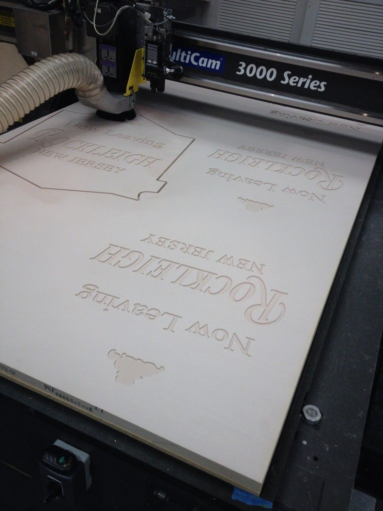 Precision Board Hdu Sign Being Cut On A Cnc At Kdf