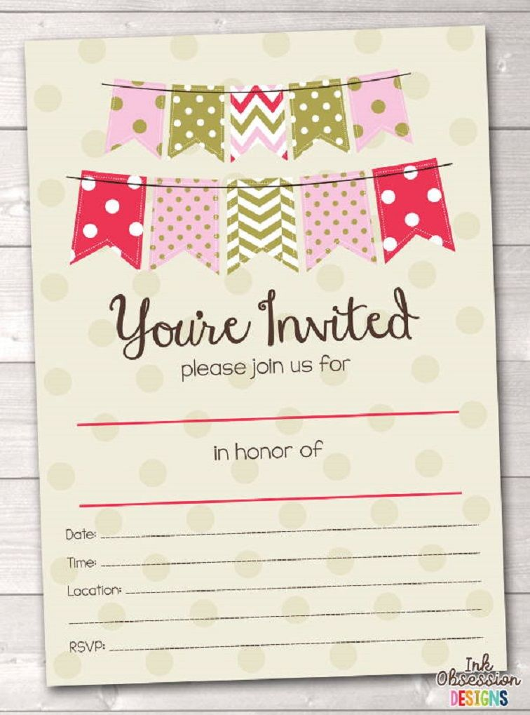 Party Invitation Template Blank Party Invite Template Birthday