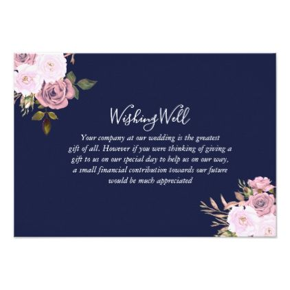 Navy blue rose gold floral wedding wishing well card floral navy blue rose gold floral wedding wishing well card stopboris Choice Image