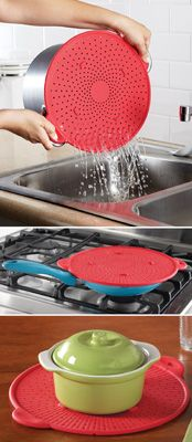 Silicone Strainer - Use for Pasta Water, as a splatter screen, and a hot pad!  3-in-1!