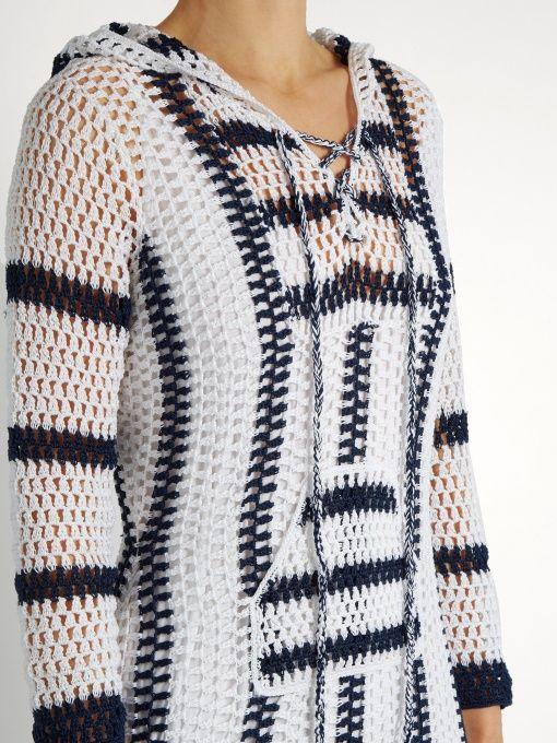 Anna Kosturova Cape Cod striped-crochet hooded dress | Crochê Blusas ...