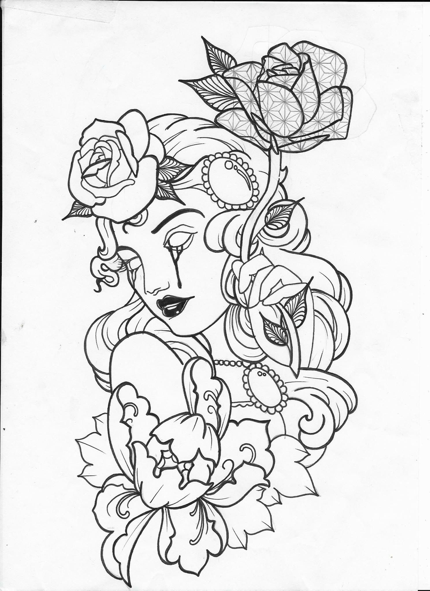 Tattoo Outline Designs : tattoo, outline, designs, Rostos, Tattoo, Stencil, Outline,, Sketch, Design,, Stencils