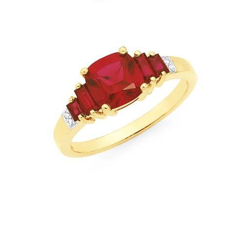9ct Gold Created Ruby Diamond Ring Goldmark Australia