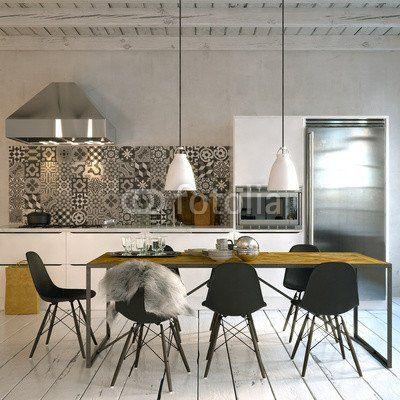 aluminium dibond image 110 x 110 cm skandinavische kche in altbau loft - Skandinavische Design Sthle