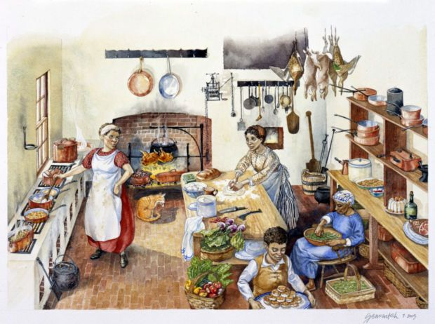 An Early 19th Century Kitchen, Before The Closed Range Came Into Common  Usage.