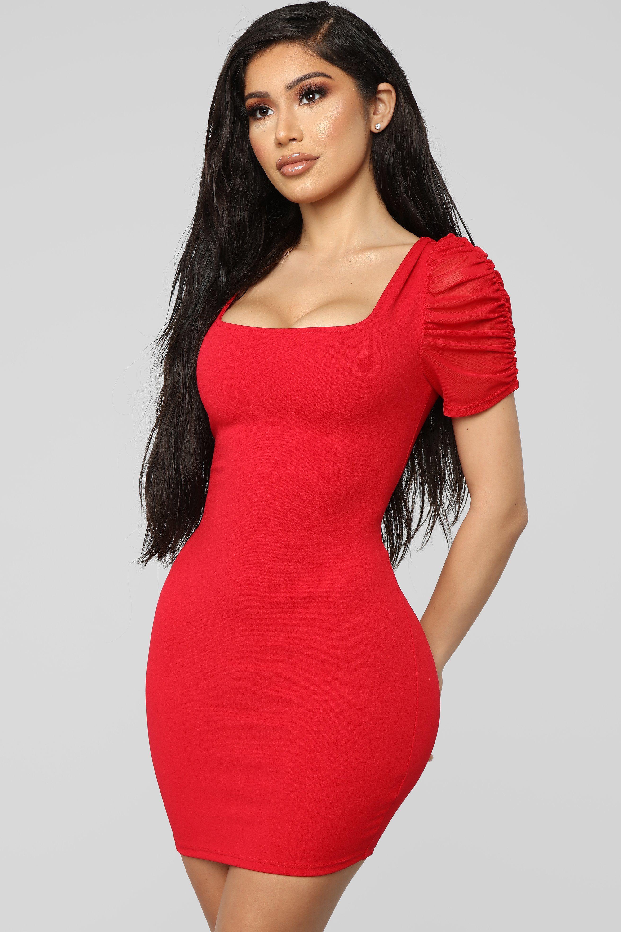 e5b2ca41f26 All In The Shoulders Mini Dress - Red in 2019