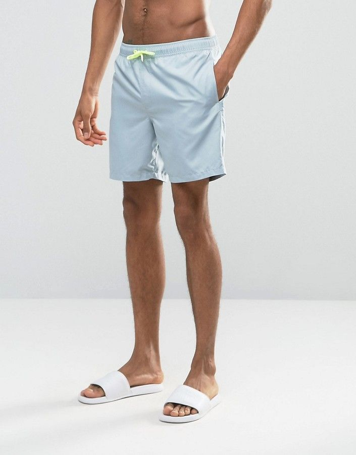 ASOS Swim Shorts In Pastel Blue With Neon Drawcord Mid Length