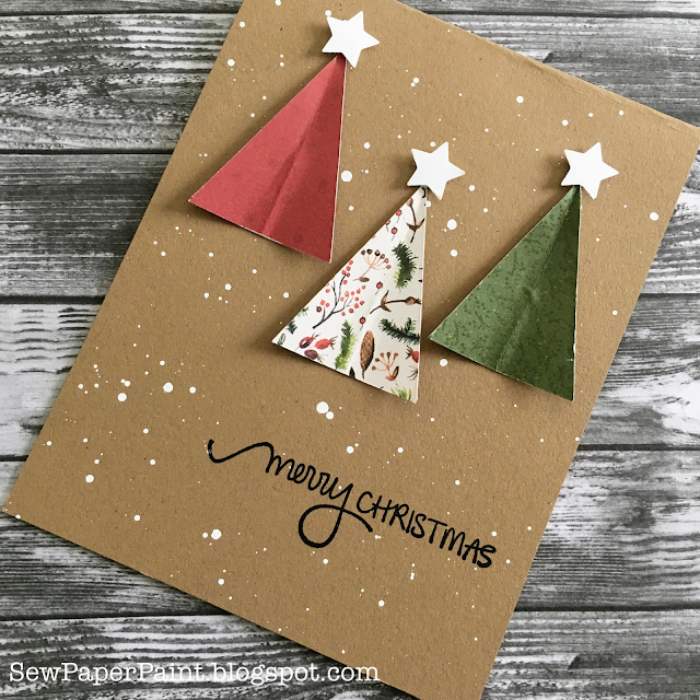 Simple Stamped Christmas Cards with Patterned Pape