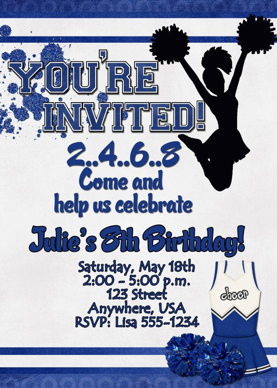 Cheerleading Birthday Party Invitation Cheerleading B Day Party