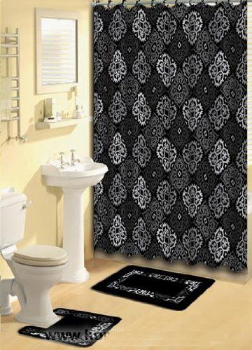Black And Grey Fabric Shower Curtain Fabric Covered Rings Area