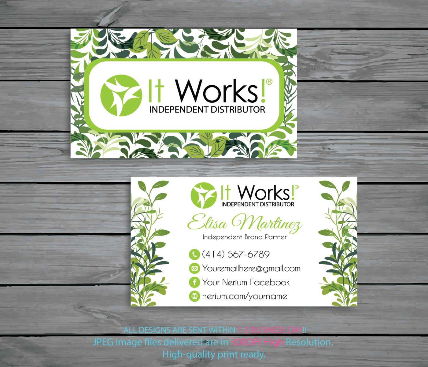 Personalized It Works Business Cards Green Independent Distributor IW03b By Digitalart 1000 USD