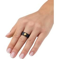 Photo of Diemer Farbstein, Onyx-Ring mit Gold-Nugget, schwarz Diemer
