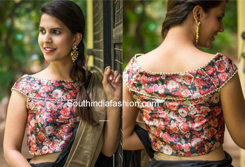 fbff28defbb155 Boat neck | Blouse blouses | Blouse designs, Floral blouse, Saree ...